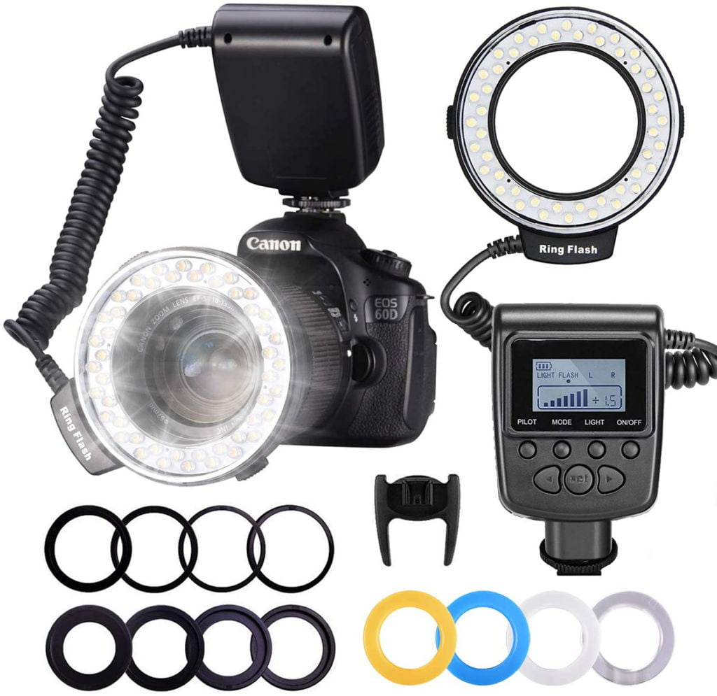 Neewer-RF550D-Macro-LED-Anillo-Flash-Bundle-Pantalla-LCD-Control-Potencia-Anillos-Adaptadores-Difusores-Flash